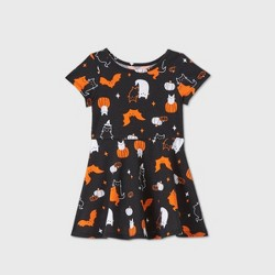 Toddler Girls' Short Sleeve Halloween Print Dress - Cat & Jack™ Black