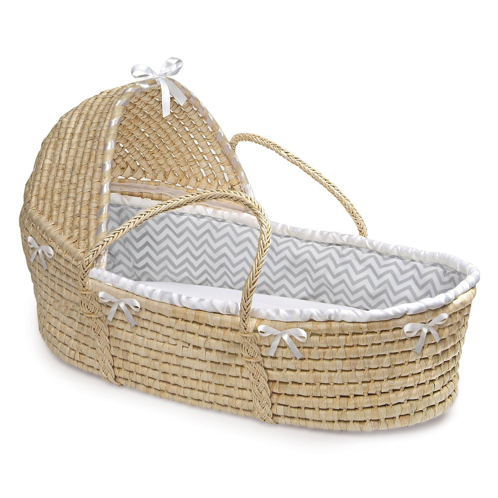 Image of Badger Basket Natural Hooded Moses Basket Bedding - Gray Chevron