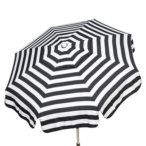 Parasol 6' Italian Aluminum Collar Tilt Beach Umbrella - Black/White Stripe - image 1 of 2