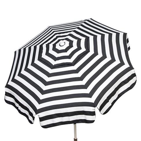 Parasol 6 Italian Aluminum Collar Tilt Beach Umbrella Black White Stripe