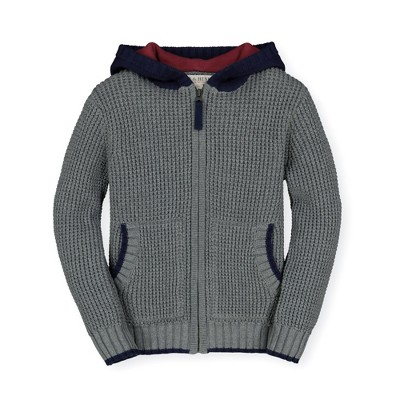 Hope & Henry Boys' Zip Up Sweater Hoodie Waffle Stitch, Infant