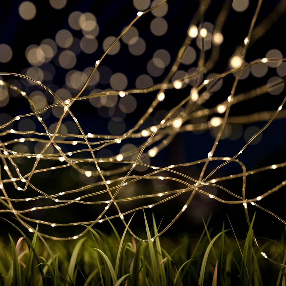 Image of 100ct Starry Solar LED Fairy Outdoor String Lights Warm White - Pure Garden, Brown
