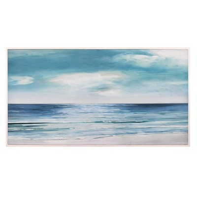 "24"" x 48"" Shore Swatland Framed Wall Art Canvas Blue/Silver - Fine Art Canvas"