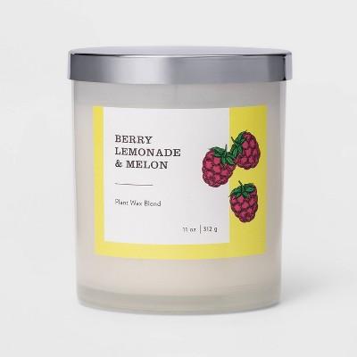 11oz Milky Glass Lidded Jar Candle Berry Lemonade & Melon - Threshold™