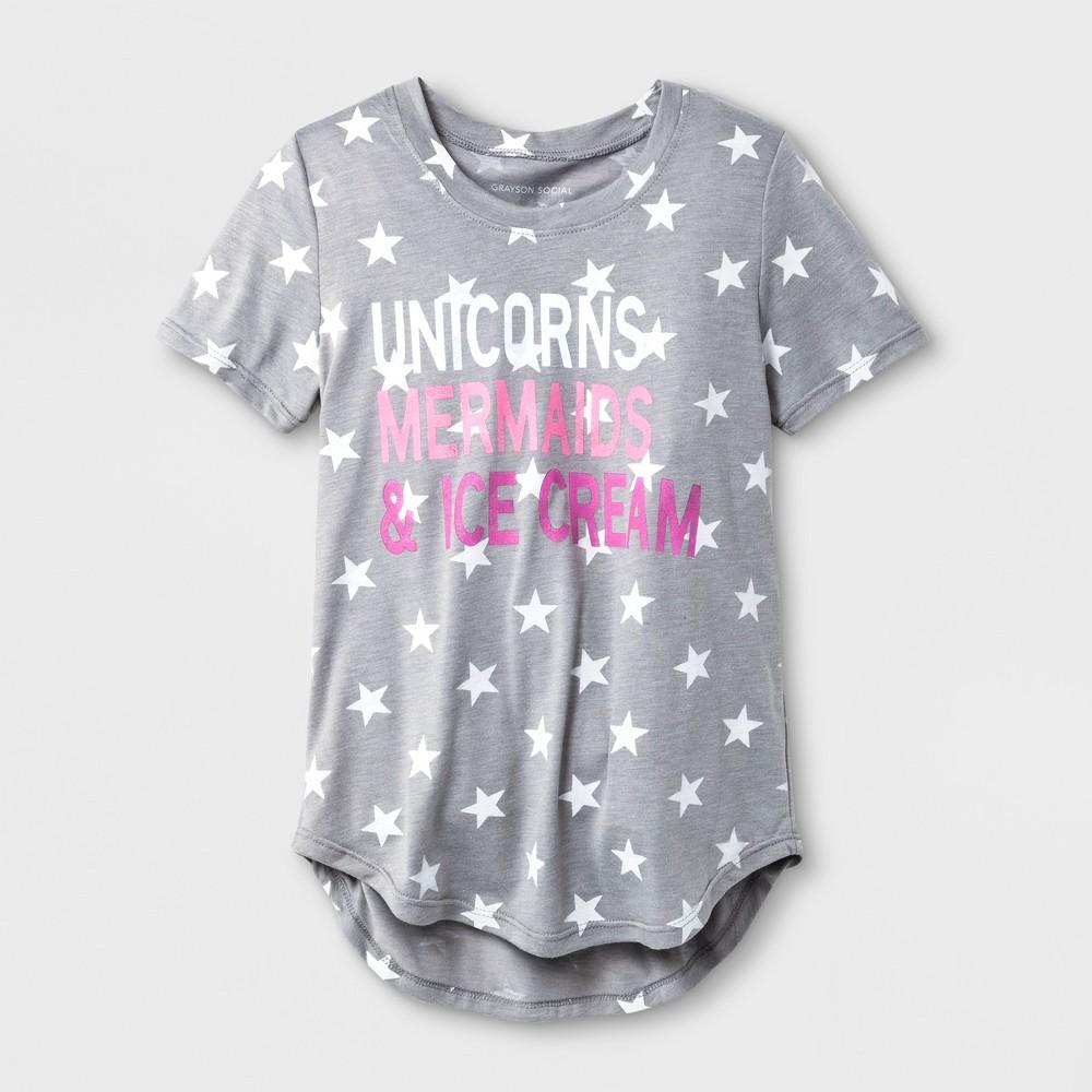 Grayson Social Girls' 'Unicorns Mermaids & Ice Cream' Star Print Short Sleeve T-Shirt - Heather Gray XS