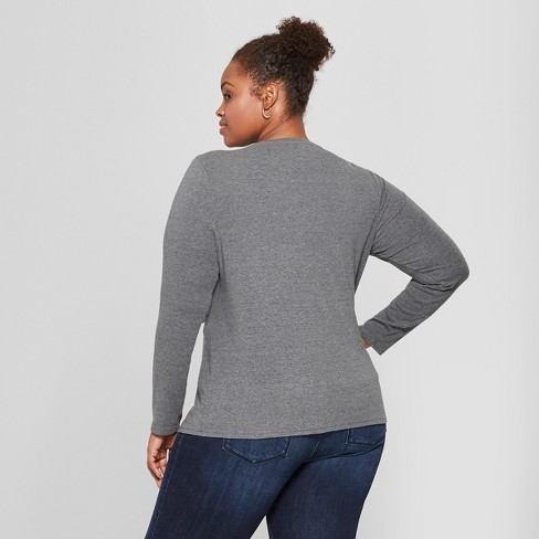 e8db85cb7eb Women s Plus Size Crew Neck Long Sleeve T-Shirt - Ava   Viv™   Target