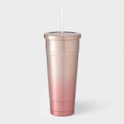 25oz Double Wall Stainless Steel Vacuum Tumbler with Straw Pink Ombre - Room Essentials™