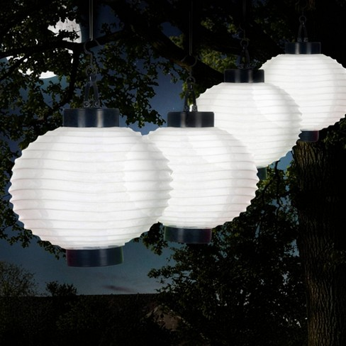 4pk Chinese Solar LED Outdoor Hanging Lanterns White - Pure Garden - image 1 of 6