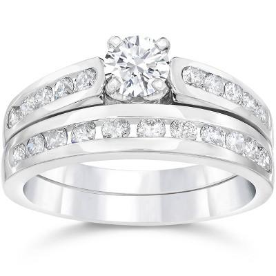 Pompeii3 1 3/8CT Diamond Engagement Wedding Ring Set 14K White Gold