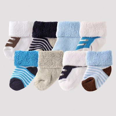 Luvable Friends Baby Boys' 8pk Sock Set - Blue 0-6M