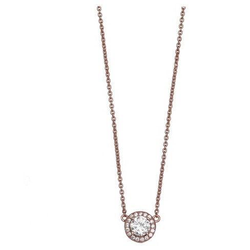 Women S Necklace With Round Cubic Zirconia In Rose Gold Over Sterling Silver Rose 18 Target