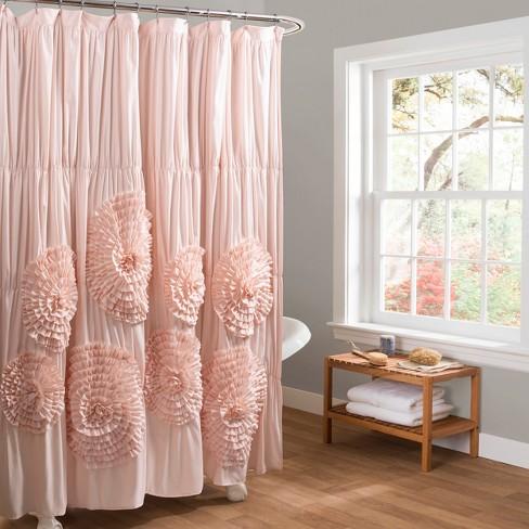 Lush Decor Serena Flower Texture Shower Curtain