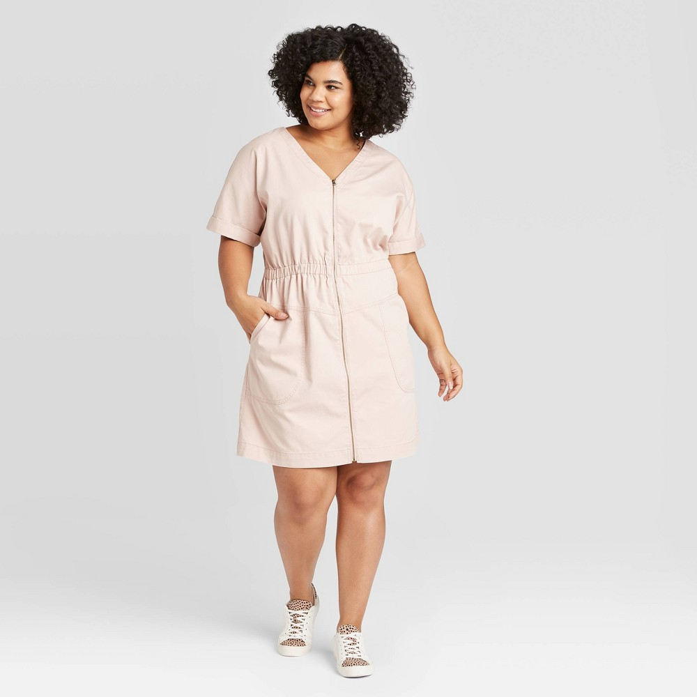 Women's Plus Size Short Sleeve V-Neck Front Zip Elastic Waist Dress - Universal Thread Pink 1X was $27.99 now $19.59 (30.0% off)