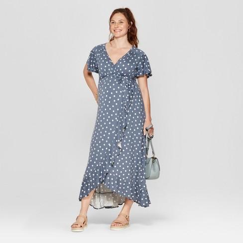 cca2cfa67834f Maternity Polka Dot Elbow Sleeve V-Neck Knit Wrap Dress - Isabel Maternity  by Ingrid & Isabel™ Indigo