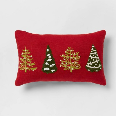 Embroidered Tree Lumbar Throw Pillow Red - Threshold™