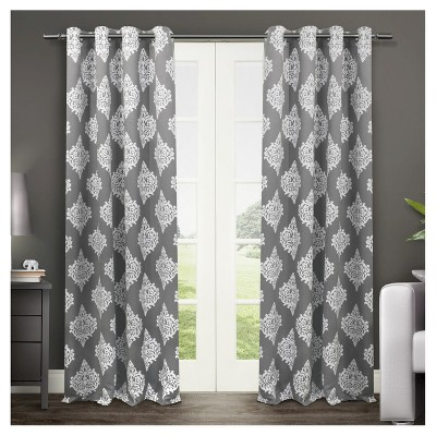 Set of 2 / Pair Medallion Blackout Thermal Grommet Top Window Curtain Panels Black Pearl (52 x84 )Exclusive Home