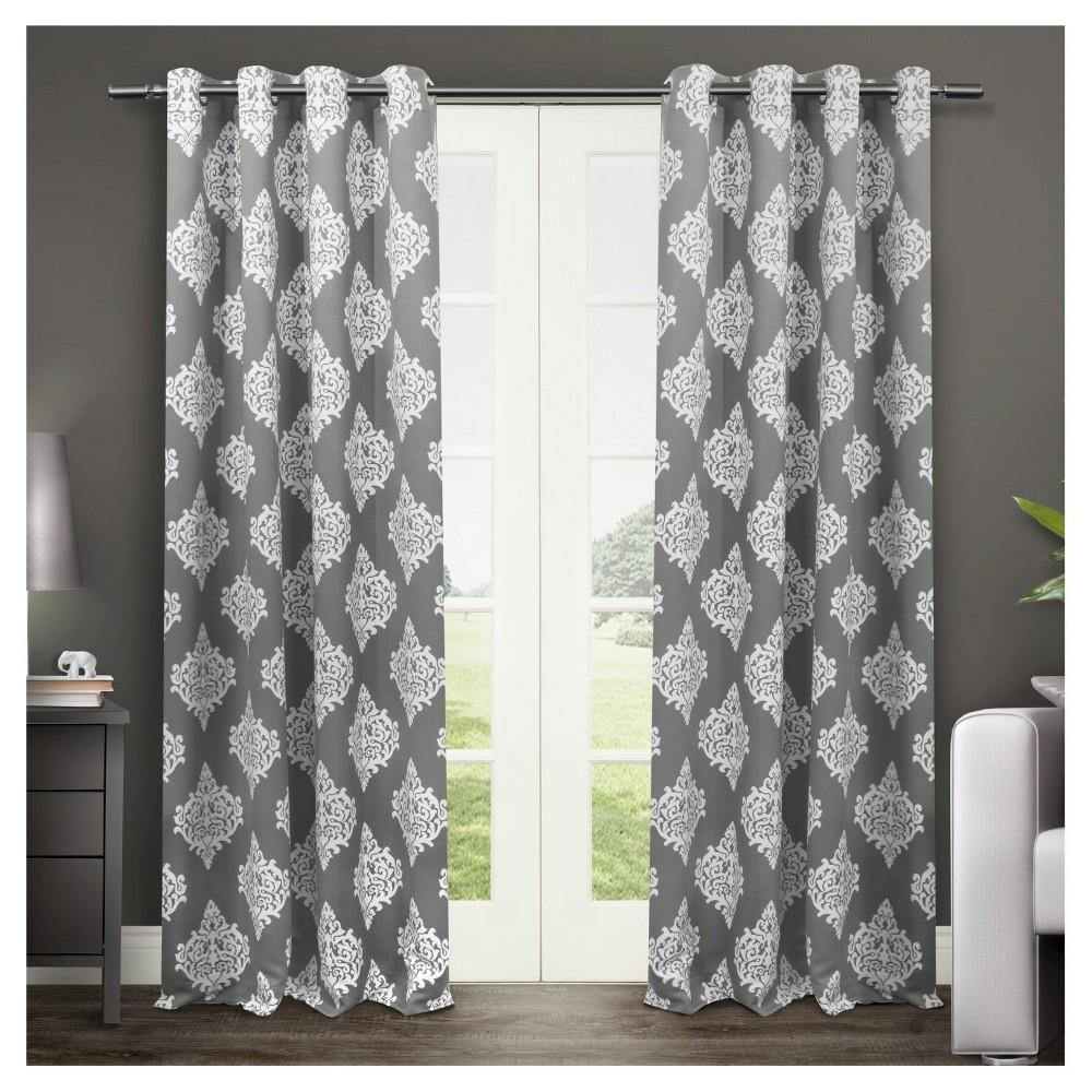 Set of 2 / Pair Medallion Blackout Thermal Grommet Top Window Curtain Panels Black Pearl (52