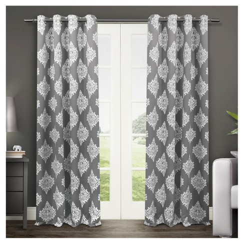 Set of 2 / Pair Medallion Blackout Thermal Grommet Top Window Curtain Panels Exclusive Home - image 1 of 4