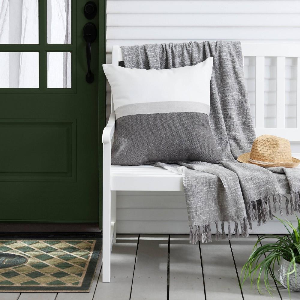 Image of Outdoor Throw Pillow Natural/Gray