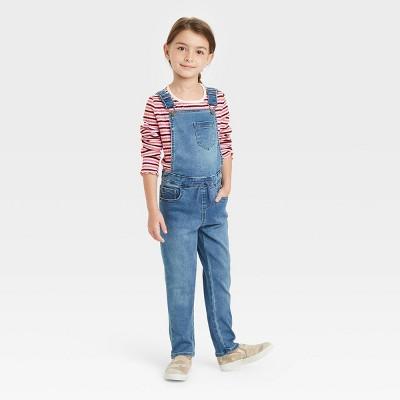 Girls' Soft Denim Overalls - Cat & Jack™ Light Wash