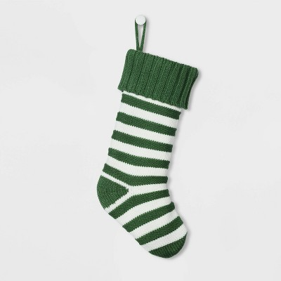 Stripe Knit Christmas Stocking Green & White - Wondershop™