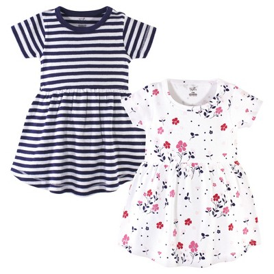 Touched by Nature Baby and Toddler Girl Organic Cotton Short-Sleeve Dresses 2pk, Floral Breeze