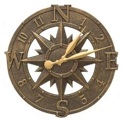 Whitehall 1173 Indoor Outdoor Aluminum Alloy Nautical Compass Clock, Bronze