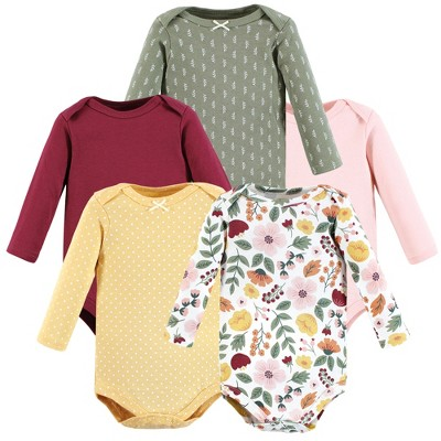 Hudson Baby Infant Girl Cotton Long-Sleeve Bodysuits, Fall Botanical