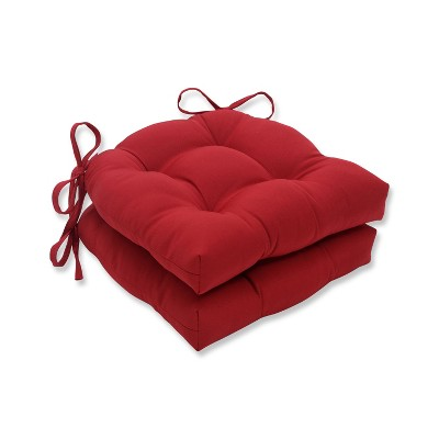 Set of 2 Indoor/Outdoor Reversible Chair Pad Red - Pillow Perfect