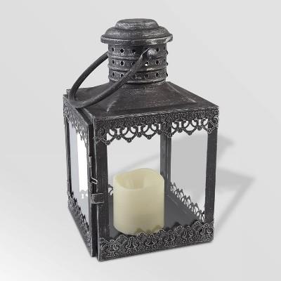 "12"" Eva LED Candle Outdoor Lantern Silver - Smart Living"