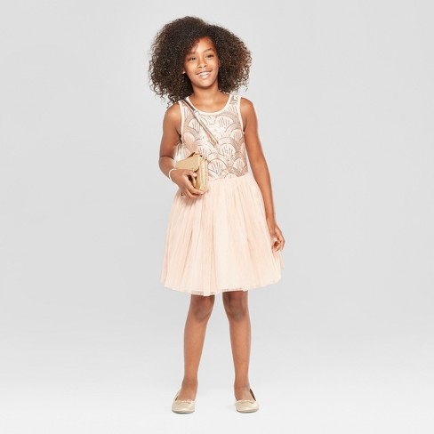 27316bb2ad Girls' Sequin Top And Tulle Skirt Dressy Dress - Cat & Jack™ Pink ...