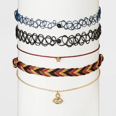 Evil Eye and Star Choker Necklace Set 5pc - Wild Fable™