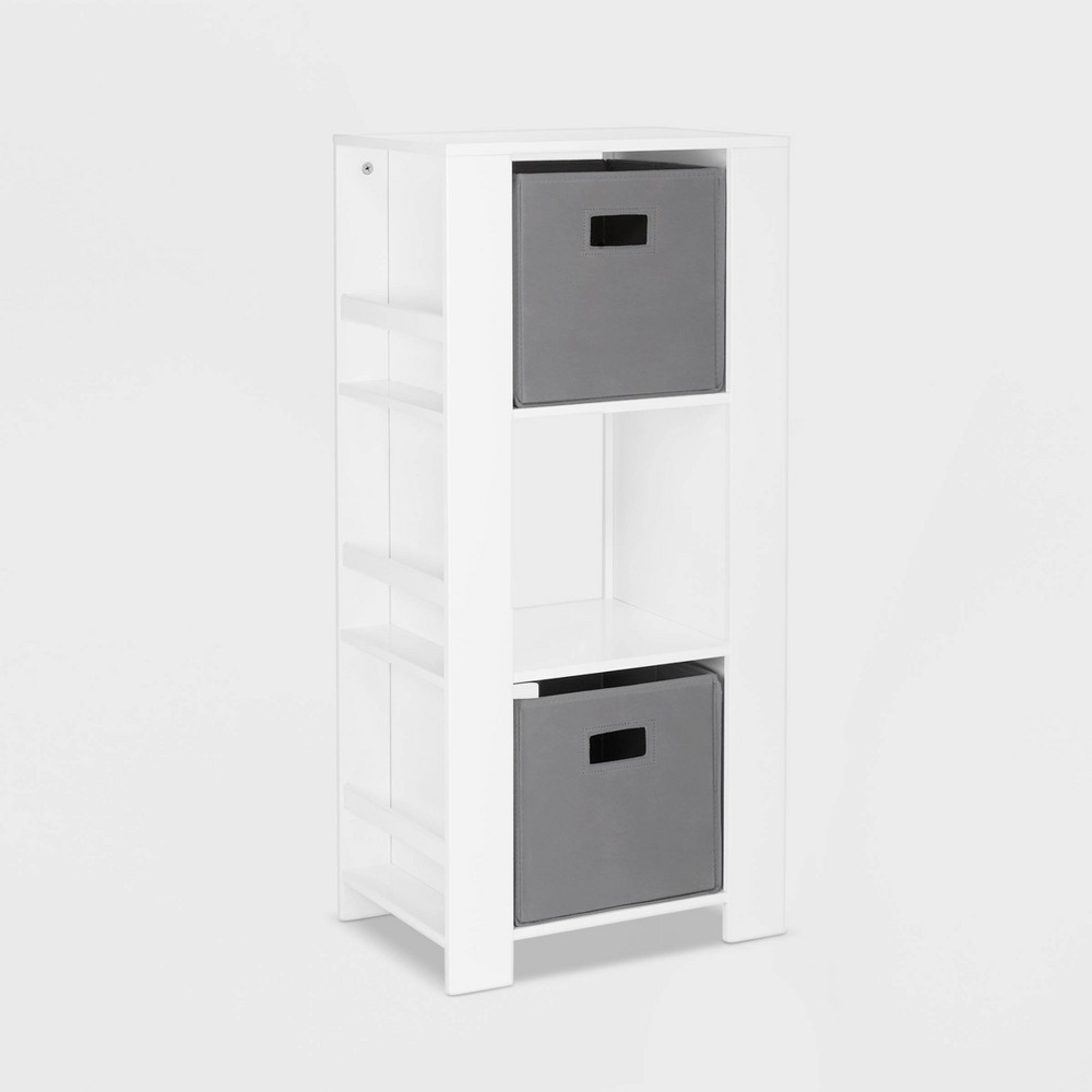 Image of 2pc Bin Book Nook Kids Cubby Storage Tower with Bookshelves Gray - RiverRidge