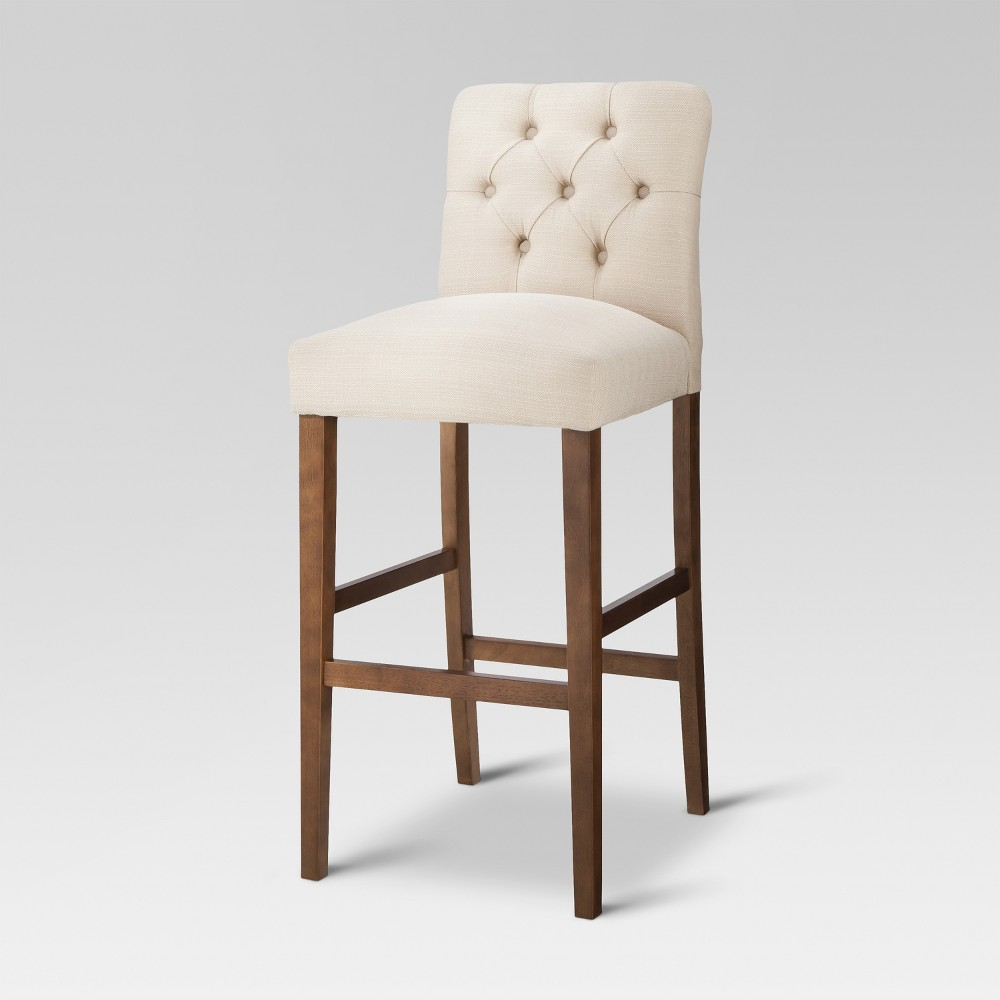 28 Brookline Tufted Barstool Chestnut Finish Oyster - Threshold, Oyster/Brown