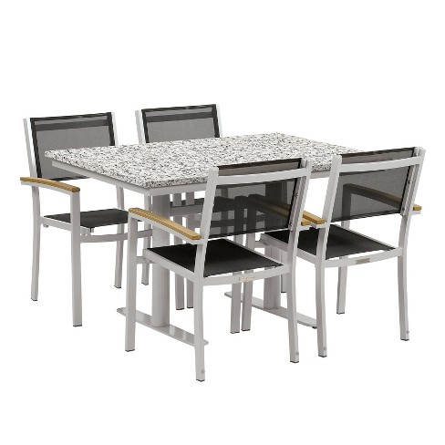 "Travira 5pc Patio Dining Set with 34""x48"" Table - Powder Coated Steel - Lite-Core Ash - Black Sling - Tekwood Natural - Oxford Garden - image 1 of 3"