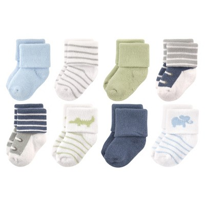 Luvable Friends Baby Boy Newborn and Baby Terry Socks, Safari