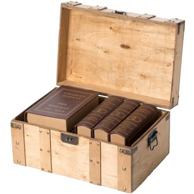 Vintiquewise Natural Wooden Style Trunk with Handles