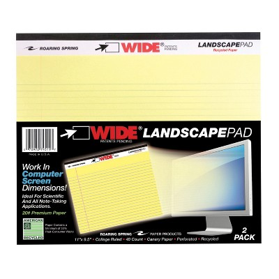 Roaring Legal Pads, 11 x 9-1/2 Inches, Canary Yellow, 40 Sheets, pk of 2