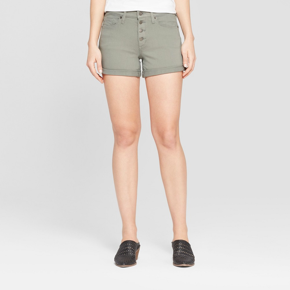 Women's High-Rise Button Fly Double Cuff Jean Shorts - Universal Thread Olive 12, Gray