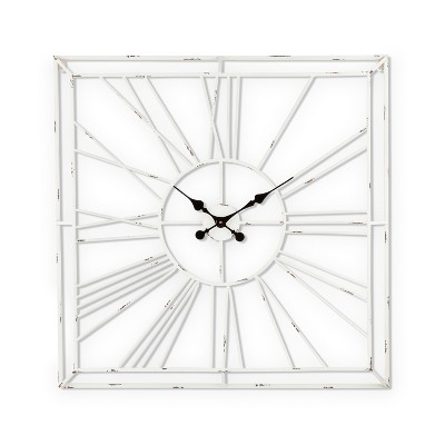 Lone Elm Studios Antique White Washed Metal Roman Numeral Wall Clock