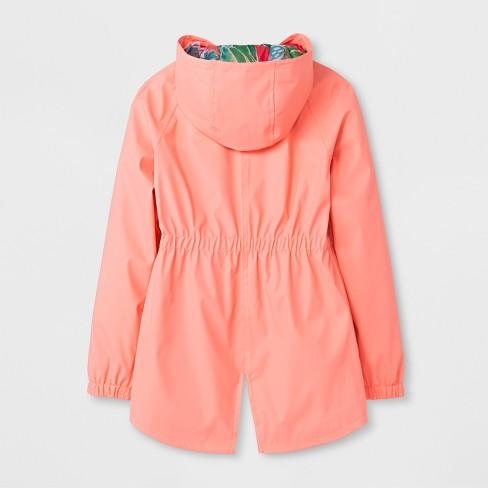 43b907ef344e Girls  Rain Jacket - Cat   Jack™ Coral   Target