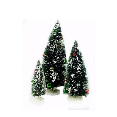 """Ganz Set of 3 Green and White Miniature Christmas Tree Flocked Tabletop Decor 18"""""""
