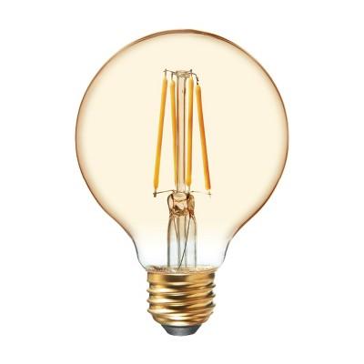 General Electric 2pk 60W VintaG25 Globe Filament Amber LED Light Bulb White