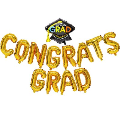 "Sparkle and Bash 13 Piece Congrats Grad Gold Foil Letter Balloons for Graduation Party, 16"""