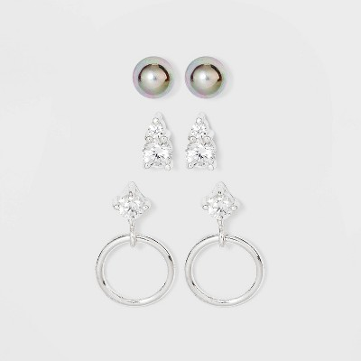 Sterling Silver with Cubic Zirconia Glass Pearl Earring Set 3pc - A New Day™ Silver
