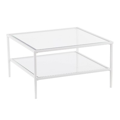 Emerson Square Metal/Glass Open Shelf Cocktail Table White - Aiden Lane