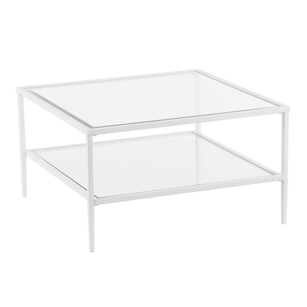 Emerson Square Metal Glass Open Shelf Cocktail Table White Aiden Lane