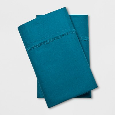 Solid Fringe Percale Cotton Pillowcases (King)Teal - Opalhouse™