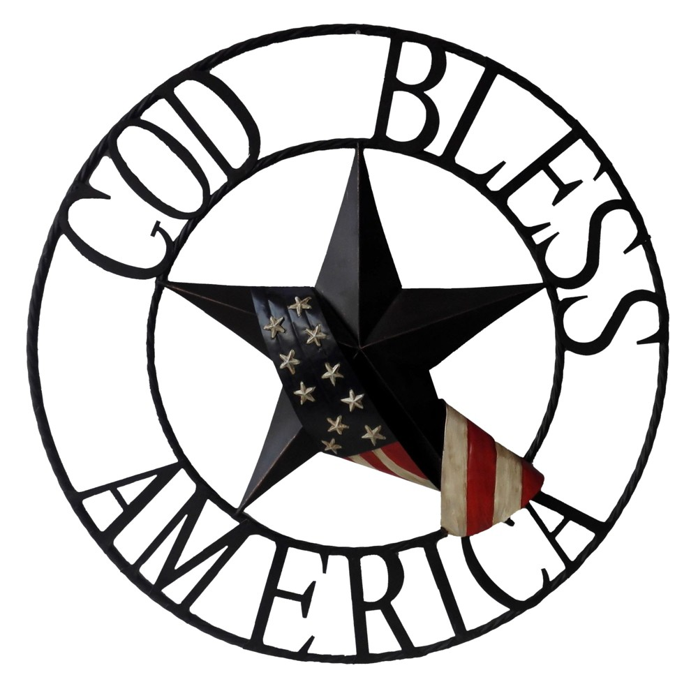 "Image of ""29""""H God Bless America Metal Outdoor Welcome Wheel Wall Sign Panel Black - Backyard Expressions"""