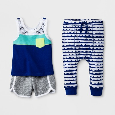 Baby Boys' 3pc Tank Top, Joggers and Shorts Set - Cat & Jack™ Blue Newborn